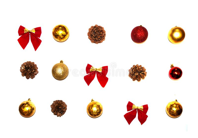 Christmas decor on a red background royalty free stock photography