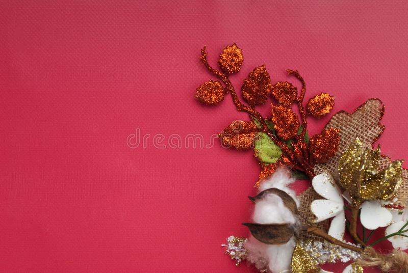 Christmas decor on a red background stock image