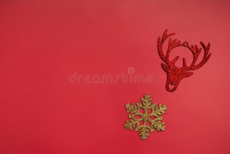Christmas decor on a red background royalty free stock image