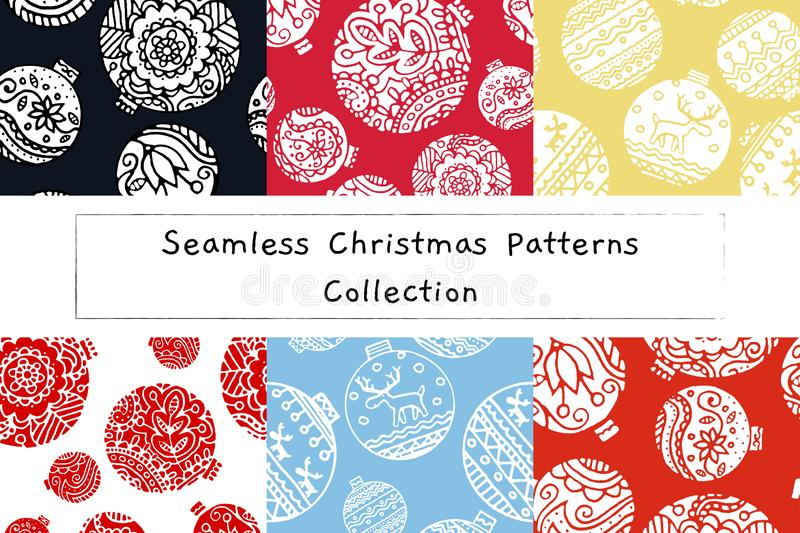 Christmas decor seamless pattern set. floral and scandinavian decor on new year balls. stock illustration