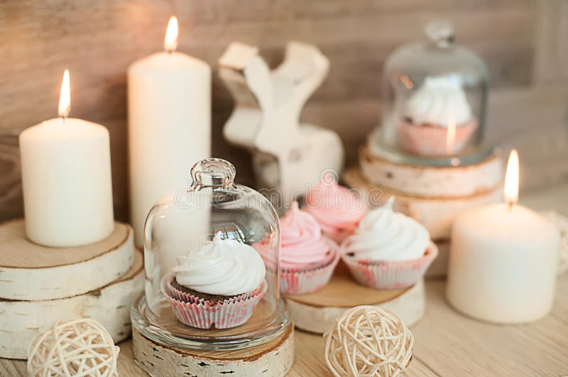 Christmas Decor and sweet soft focus. Christmas Decor and sweet , deer, tasty, candles royalty free stock image