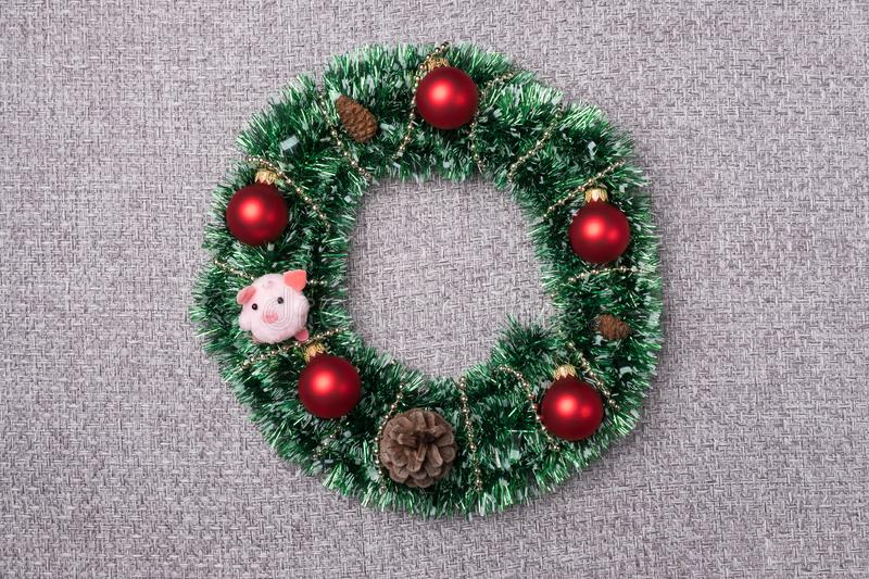 Christmas wreath on a gray background. royalty free stock photography
