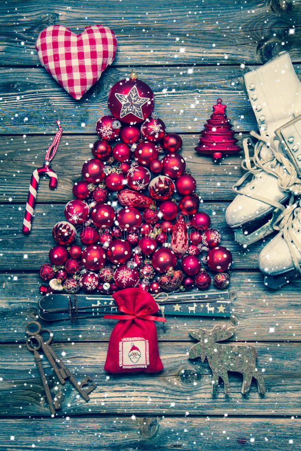 Christmas decoraion in red and white on wood in rustic vintage s royalty free stock photos