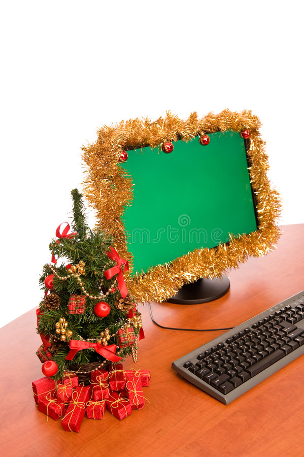 Download Christmas Decorated Office Desk Stock Photo