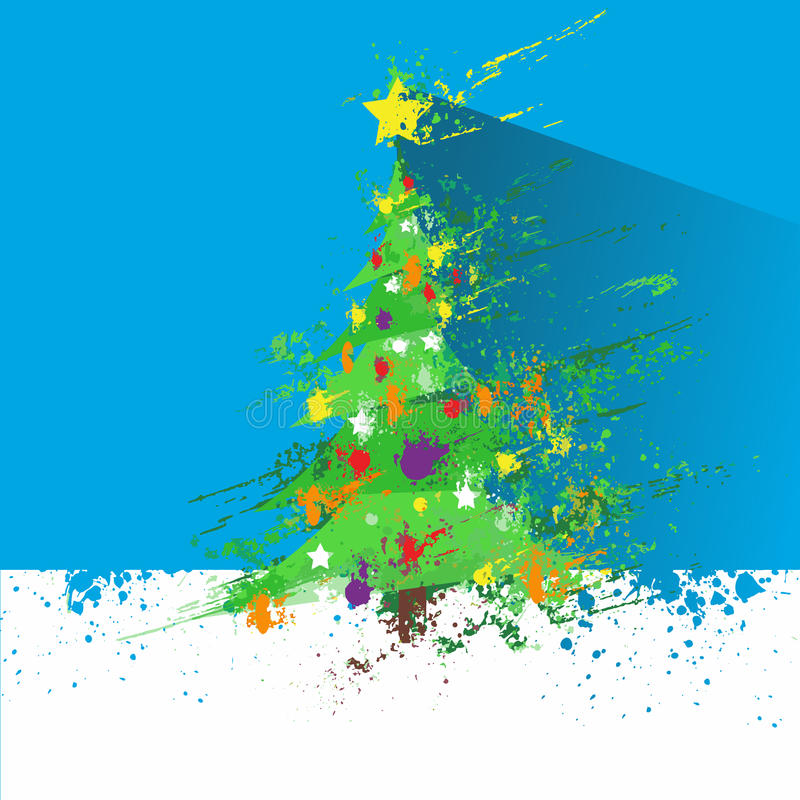 Christmas decorated tree abstract ink splash paint royalty free illustration