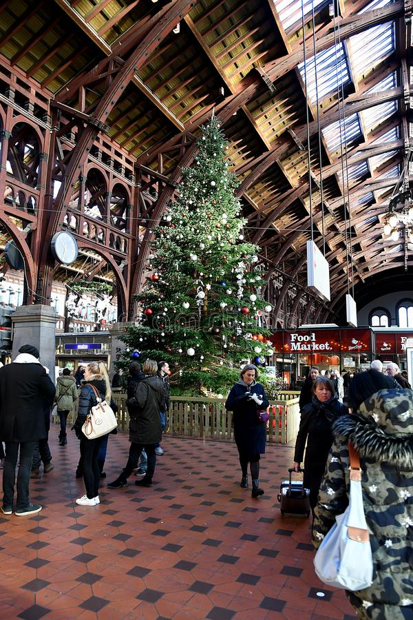 Christmas decorated with various arts and ornment s. Copenhagen/Denmark 04 December 2018. _Danish DSB danish pubic transportation arranged annual cbristmas royalty free stock photos