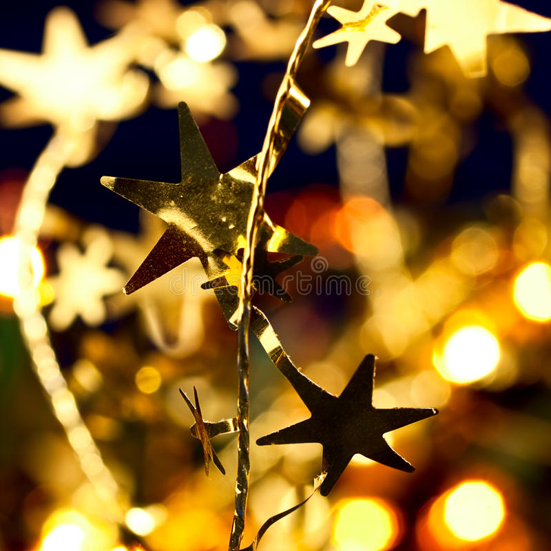 Christmas decoration. With blurred lights in background, shallow DOF stock photo