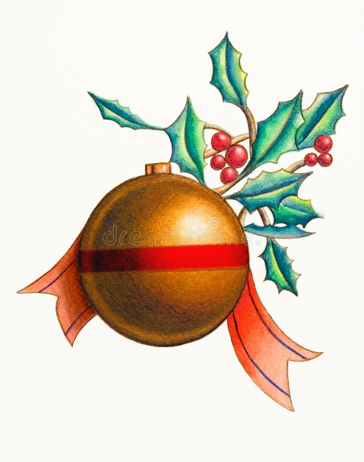Christmas decoration. Over white background. Hand painted illustration vector illustration