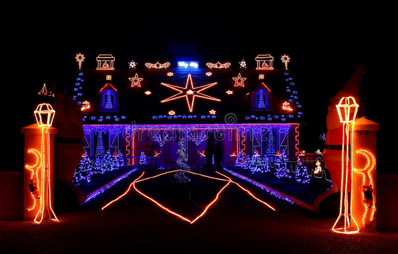 Christmas decoration. House with Christmas decoration lights royalty free stock photography