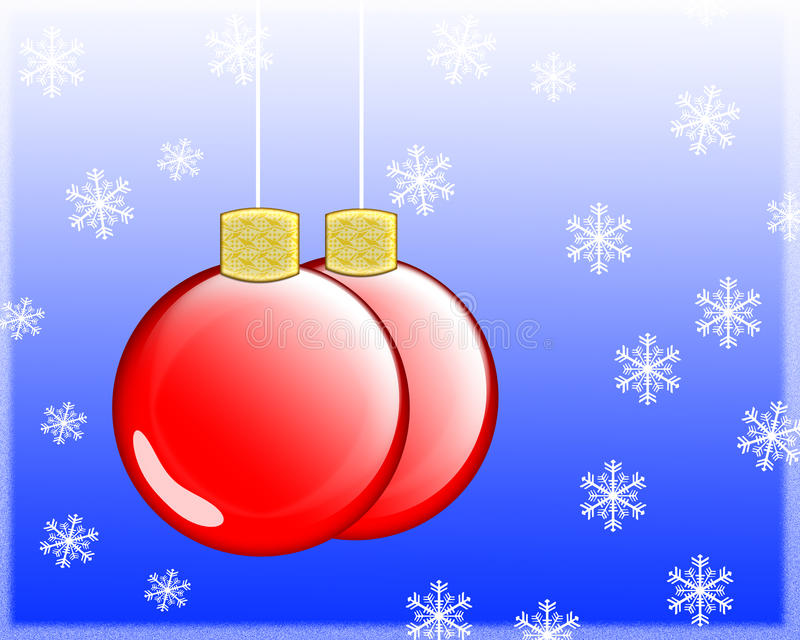Christmas Decoration. Blue background and christmas deco vector illustration