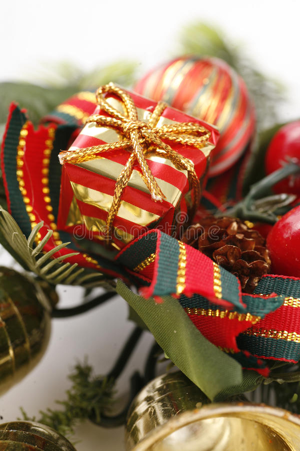 Christmas decoration. Close up on a gift royalty free stock photography