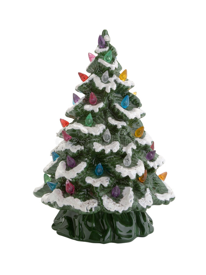 Christmas Decoration. Lighted christmas tree decoration isolated on white with clipping path outline royalty free stock photos