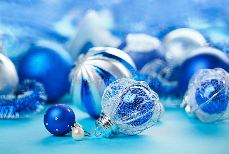 Download Christmas Decoration Balls On Blue Royalty Free Stock Images - Image: 26640259