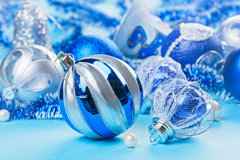 Download Christmas Decoration Balls On Blue Stock Image - Image: 26936771