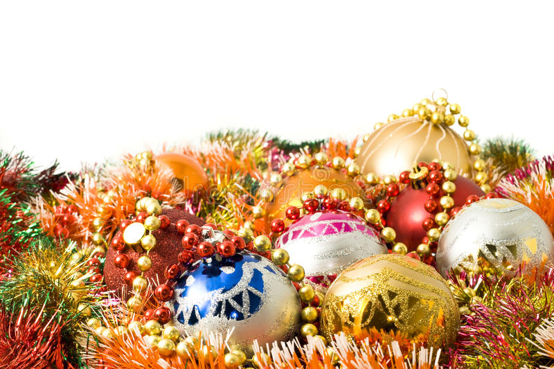 Christmas Decoration Balls And Colorful Tinsel Royalty Free Stock Image