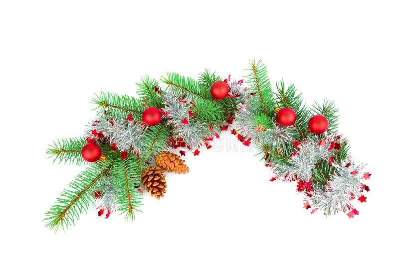 Christmas decoration baubles with branches of fir tree on white royalty free stock image