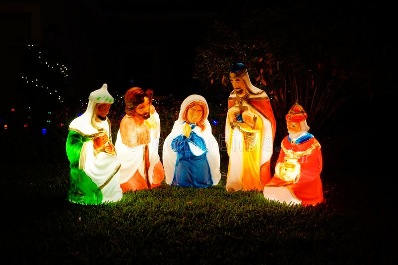 The birth of baby jesus christ statue stock photography