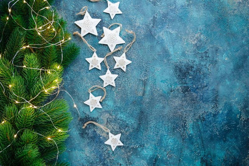 Christmas decoration on blue background stock images