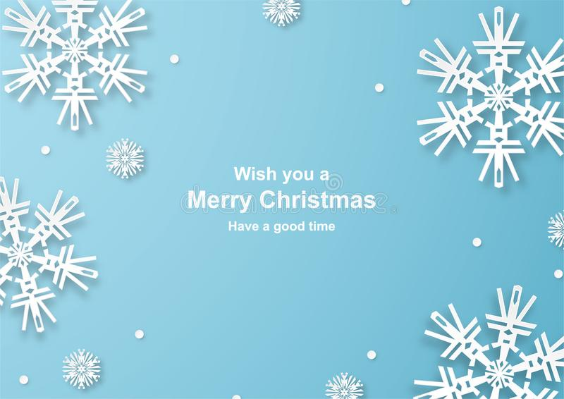 Christmas decoration on blue background in paper cut and craft w. Ith snowflake. Vector illustration in digital craft style vector illustration