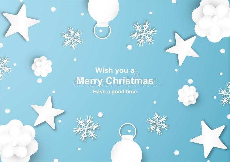 Christmas decoration on blue background in paper cut and craft w. Ith snowflake. Vector illustration in digital craft style stock illustration