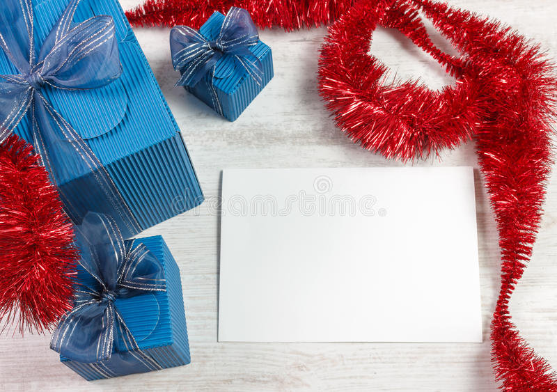 Download Christmas Decoration With Blue Gift Boxes Stock Image - Image: 27556513