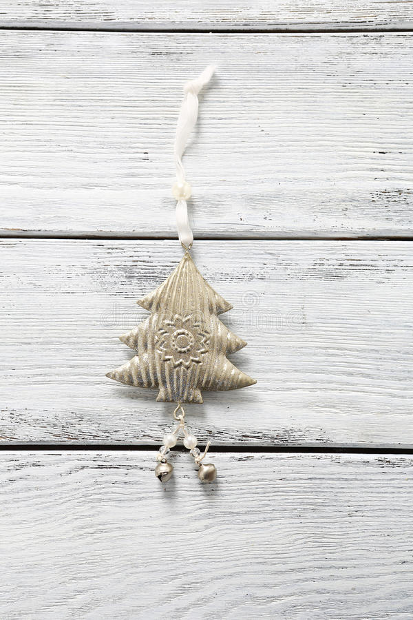 Christmas decoration on the boards stock photos