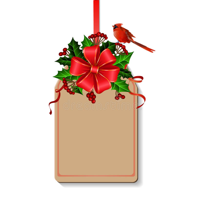 Christmas decoration with bow. And holly and rowan berries and cardinal bird on tag with free space vector illustration