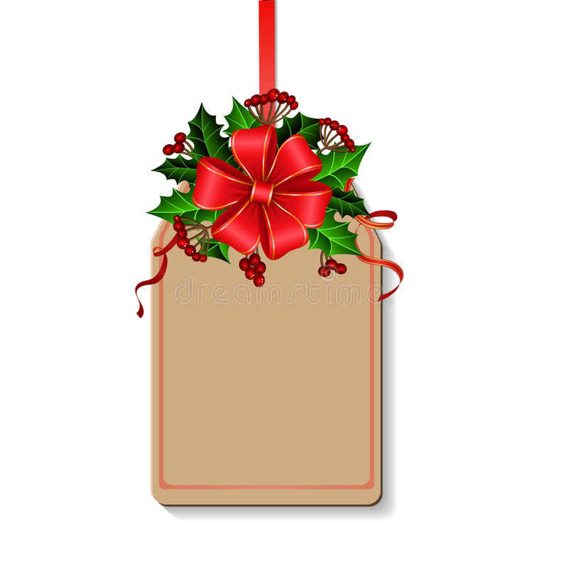Christmas decoration with bow. And holly and rowan berries on tag with free space stock illustration