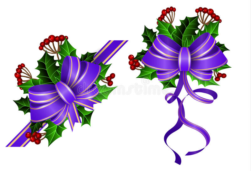 Christmas decoration with bow. Christmas decoration set with blue bow and holly and rowan berries vector illustration