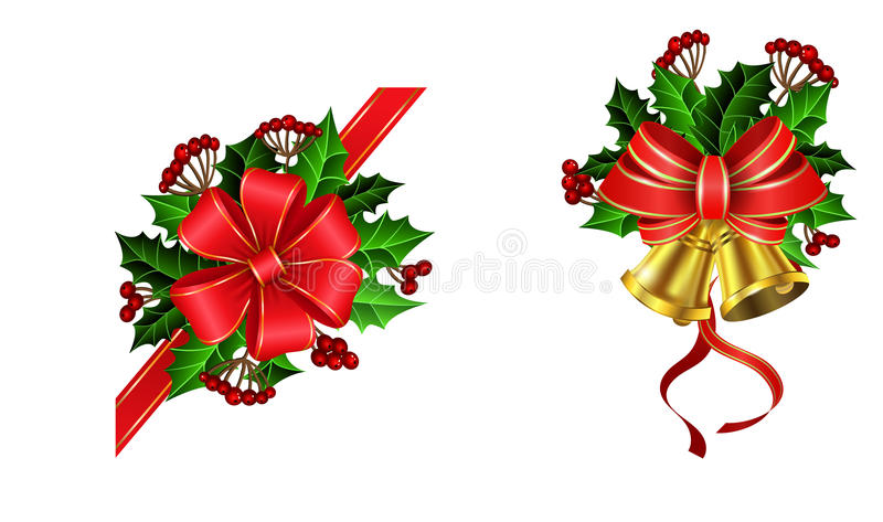 Christmas decoration with bow. Christmas decoration set with bow and holly and rowan berries and two golden bells vector illustration