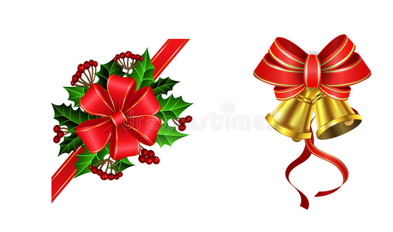 Christmas decoration with bow. Christmas decoration set with bow and holly and rowan berries and two golden bells royalty free illustration