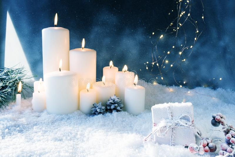 Christmas decoration in snowy winter night royalty free stock photography