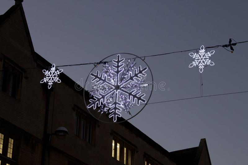 Christmas decoration at Cambridge UK. Christmas lights on streets at Cambridge UK royalty free stock images