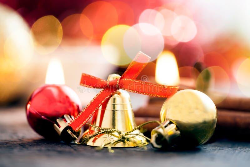 Christmas decoration with candles, christmas ball, ribbon, fir cone, tree, anice star, cinamon. stock image