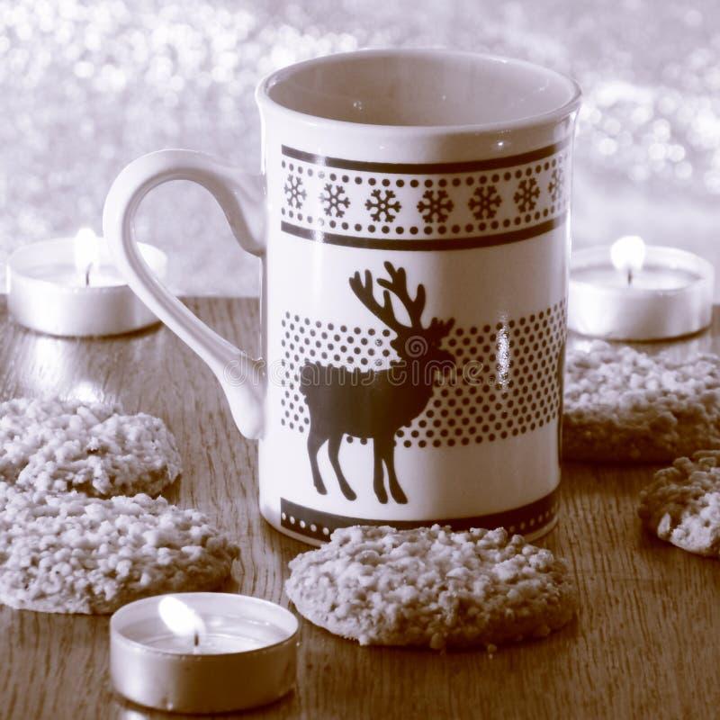 Christmas Decoration Card with Mug - Stock Photo. Christmas Decoration Card - Mug with Stag on Northern Lights Background stock photos