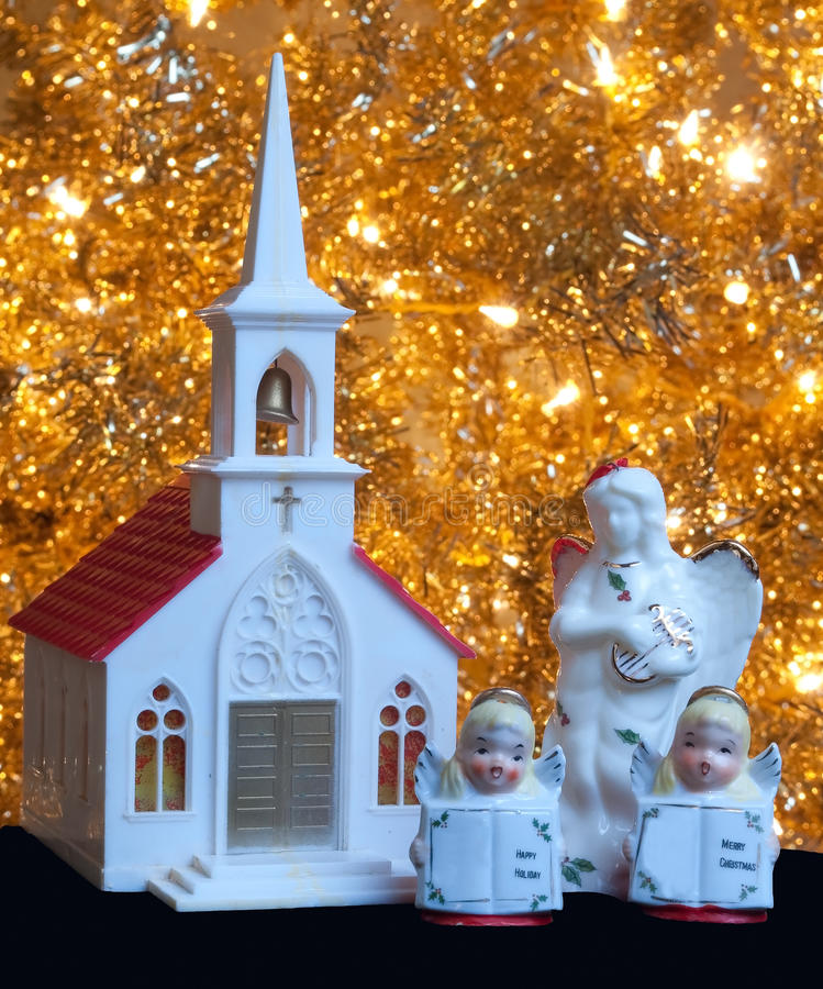 Christmas Church Decoration: Christmas Decoration Church And Angels Stock Photo