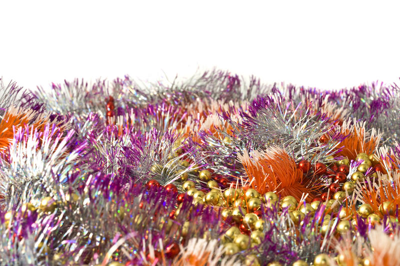 Christmas Decoration - Colorful Bright Tinsel Stock Photos
