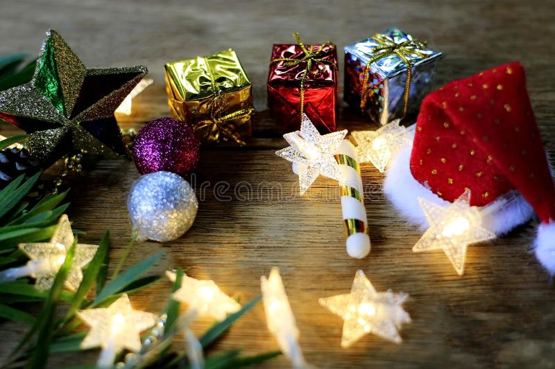 Christmas decoration with colorful lights starry background blur stock photo