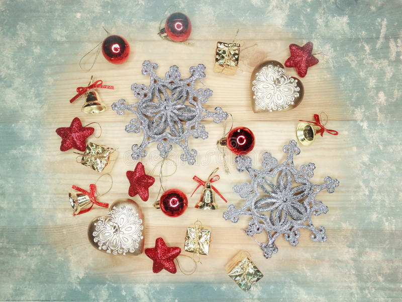 Download Christmas Decoration Composition On Wooden Background Stock Image - Image: 83700181