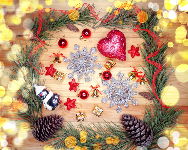 Download Christmas Decoration Composition On Wooden Background Stock Photo - Image: 83702245