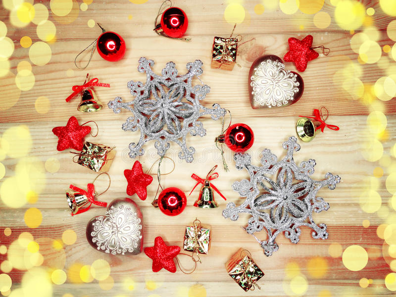Download Christmas Decoration Composition On Wooden Background Stock Photo - Image: 83702505