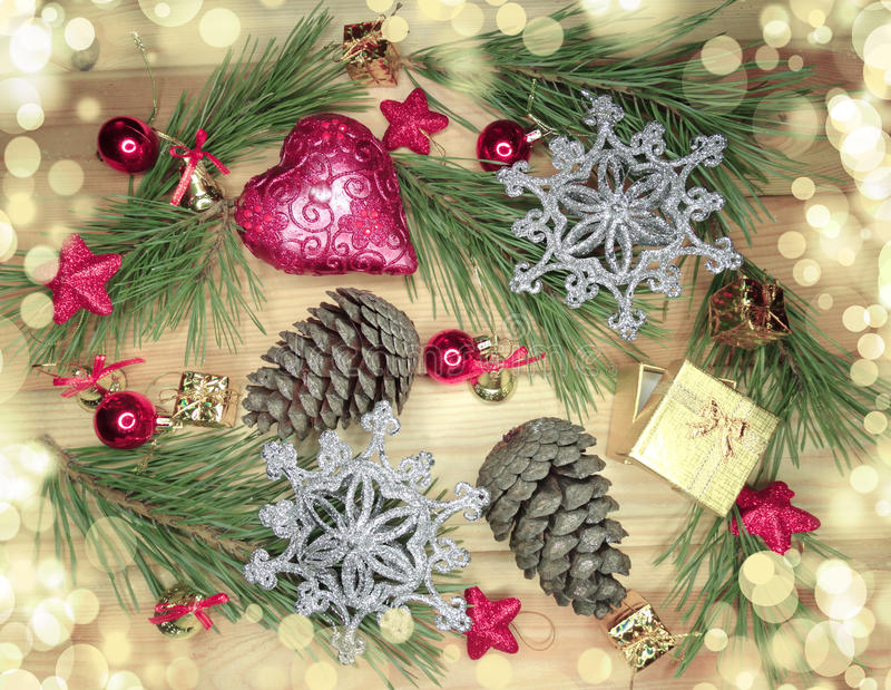 Download Christmas Decoration Composition On Wooden Background Stock Image - Image: 83703027