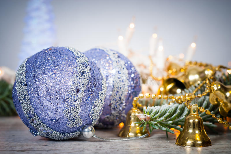 Christmas decoration. Cristmas background with balls and christmas bells. royalty free stock images