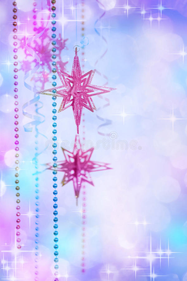 Christmas Decoration at the Defocused Lights Background royalty free stock image