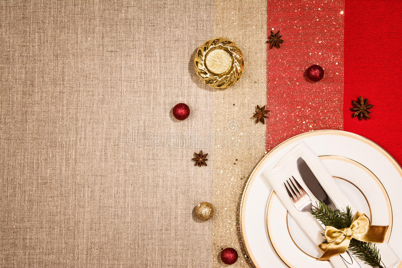 Christmas decoration and dinner or supper tableware. stock image