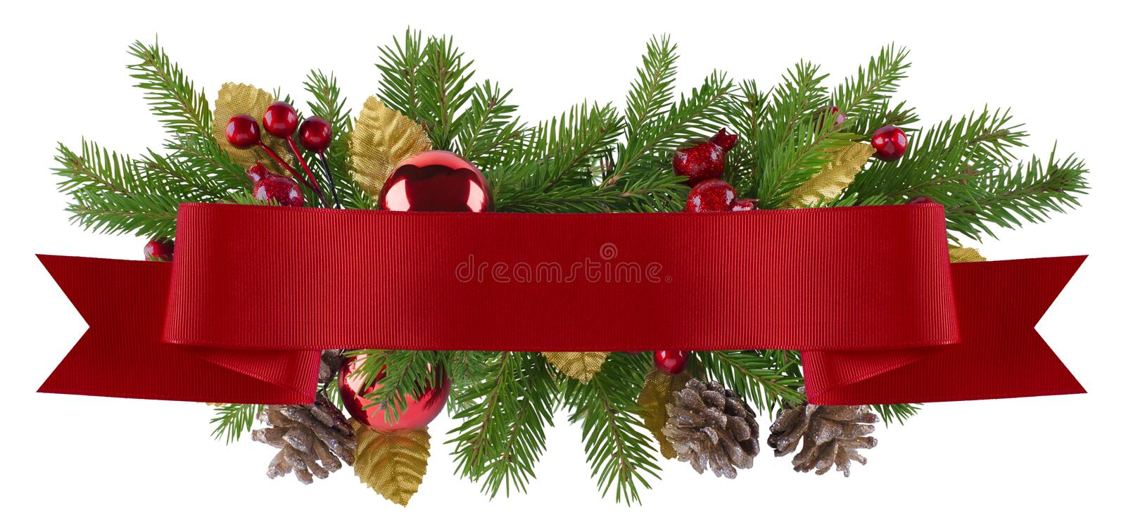 Christmas decoration element with straight red ribbon. Christmas decoration element in red and gold theme for menu, invitation, poster royalty free stock photo