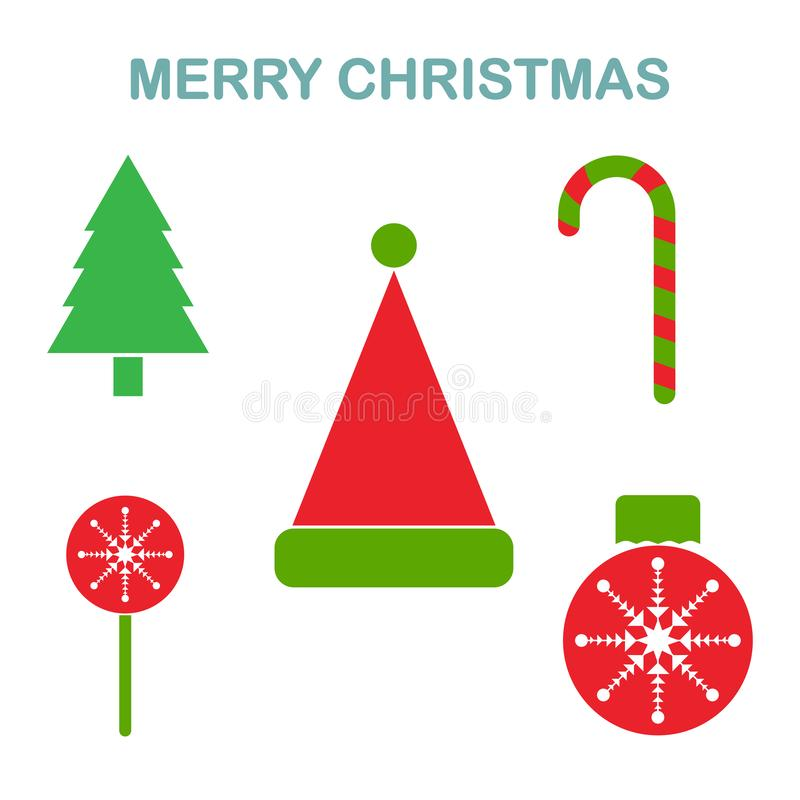 Christmas decoration, elements isolated on white background. Balls with snowflakes, candy, red santa hat, tree, lollipops. New vector illustration