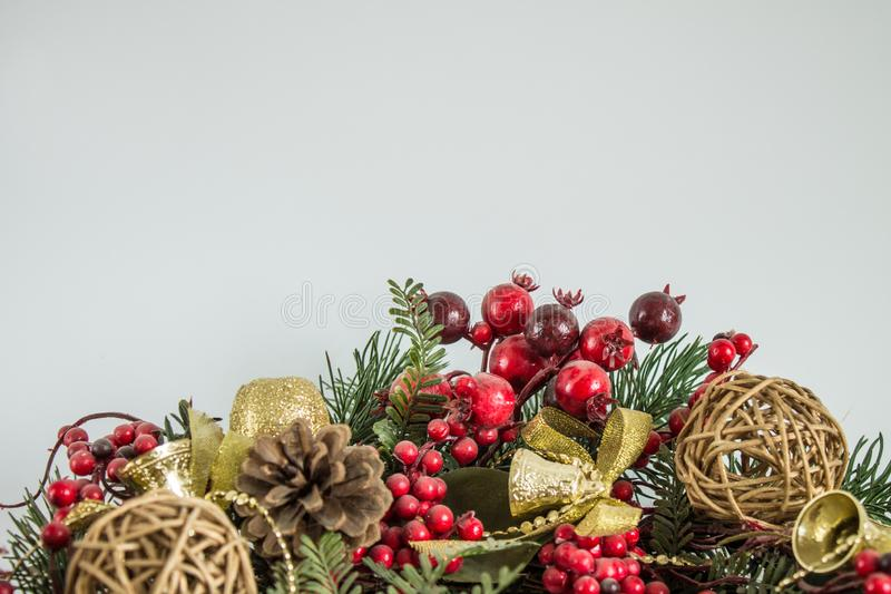 Christmas decoration with fir branches and balls royalty free stock photography