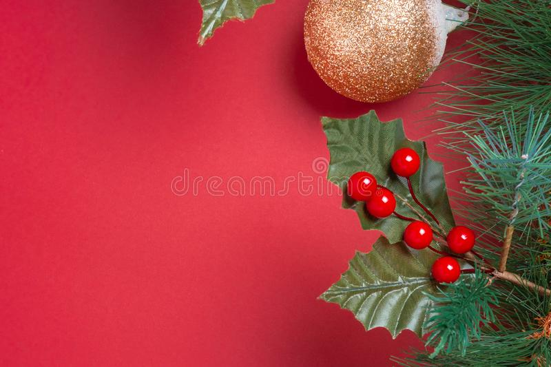 Christmas decoration and fir branches wreath with cherry and pin royalty free stock images