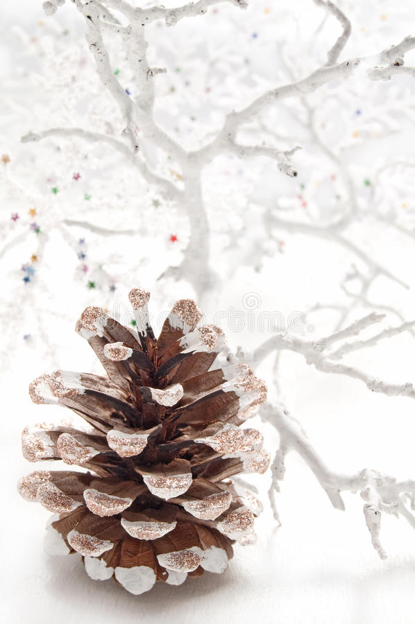 Christmas decoration with fir cones stock photo